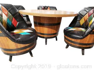 Very Unique Mid Centry Whiskey Barrel Table With (4) Chairs