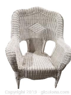 Small White Wicker Armed Chair