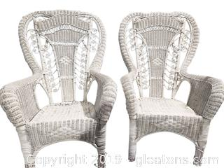 Pr of White Wicker Wing Back Chairs