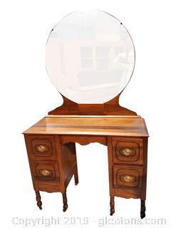 Small Antique Dresser With Round Mirror