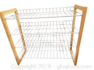 Wood/Metal Shoe Rack Shelf