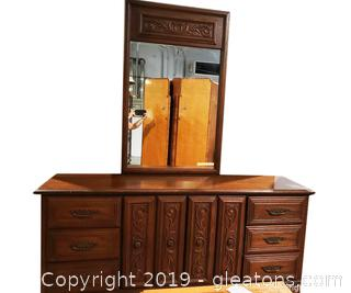 """Mid Centry """"Style Mark"""" Large Dresser with Mirror"""