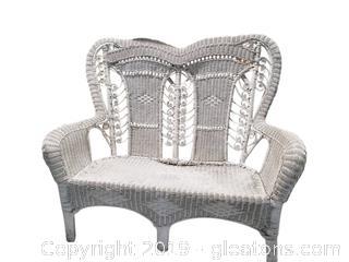 Large White Wicker Loveseat/Sofa