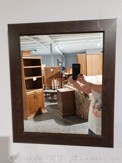 Small Wood Look Wall Mirror