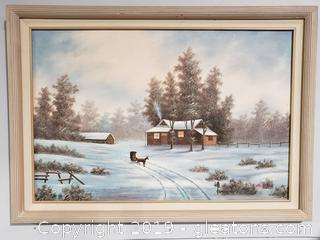 Large Winter Cabin Hand Painted Canvas Framed by: Van Bell