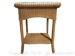 High End Lloyd Loom Wicker Glass Top End Table