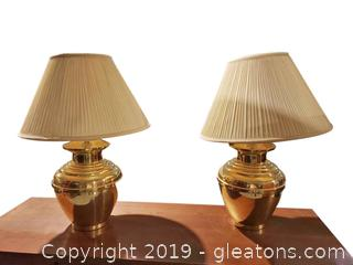 Pr of Vtg Ginger Jar Shaped Brass Lamps
