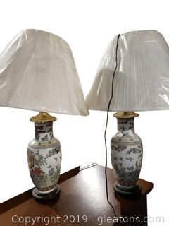 Pr. of Oriental Glass Lamps