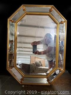 Mid centry Gold Wooden Beveled Wall Mirror