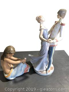 Pair of Porcelain and Clay Figurines