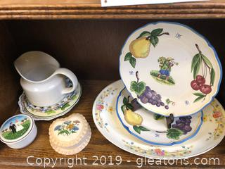 Various Nice Plates, A Pitcher & 2 Trinket Boxes