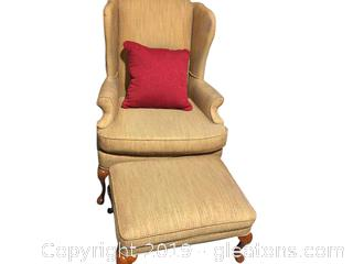 Queen Anne Chair with Ottoman & Pillow