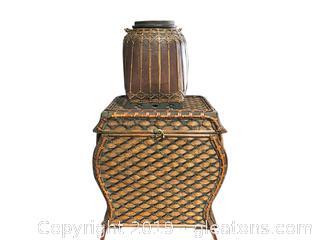 Nice WIcker Pair-Basket and Vase