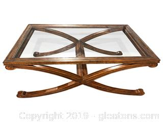 Elegant Wood and Glass Coffee Table