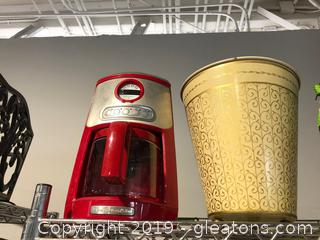 Red Kitchen Aid Coffee Maker & Bonus Trashcan