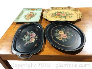 4 Vintage metal Trays
