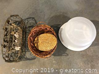 Shelf Lot of Baskets and a Cake take