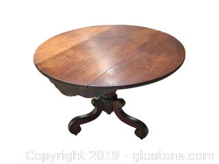Small, Round, Antique Drop-Leaf Table