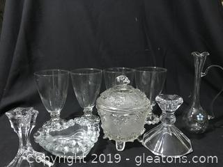 Depression glass, candlestick glass hand blown vase