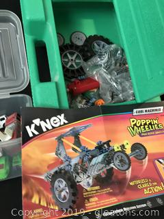 Box of cars and set of K`Nex Poppin Wheelies