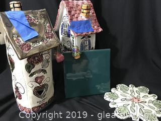 2 Blue Sky Clayworks Candle Houses, sweet heart and flower garden
