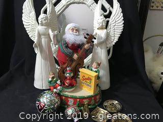 Christmas Lot, 2 ceramic angels, Christopher Radko  shinny Bright Ornaments