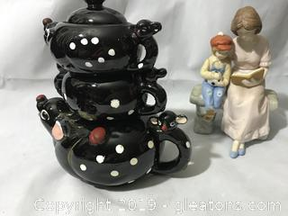 Vintage teapot creamer and sugar
