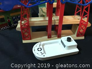 Thomas and friends railroad accessories, draw bridge, airport tower, windmill boat
