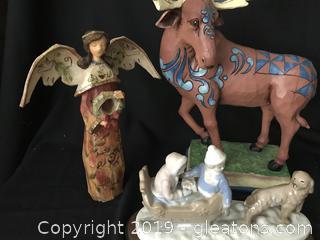 Christmas Moose, angel, dog pulling sleigh