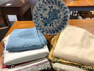 Vintage/Mid-Century Table Cloths And Decorative Plate Includes Plate Stand