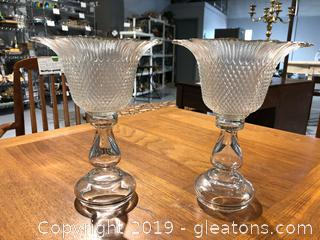 Pair Of Pretty Cut Glass Candle Holders