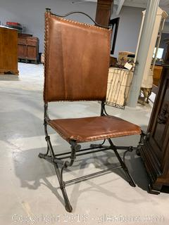 Rustic Leather Accent Chair
