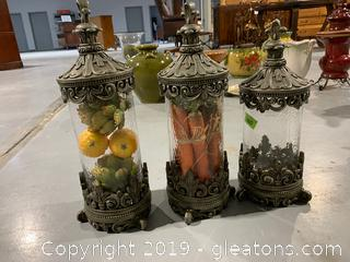 Set of Lidded Jar Decor