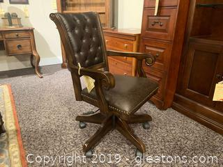 Upholstered Brown Leather Game Chair, on casters, by Hillsdale Furniture