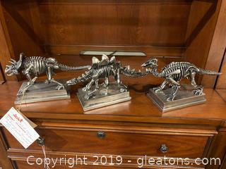 Set of Three Dinosaur Sculptures