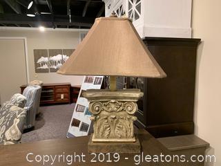 Old World Lamp on Metal Base