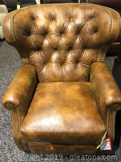 Leather Recliner with Extra Wide Back and Nailhead Trim