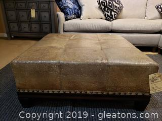 New Large Leather Ottoman MFG By Palatial Furniture