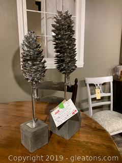 Silver Pine Cone Sculptures