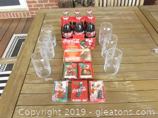 Coca-Cola Bottles Christmas 1996, Playing Cards & Glasses