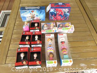 Lot of Toys in Their Boxes or Carry All Boxes Spider-Man & Toy Story, Fisher-Price Little People,, Fisher Price Disney Little People, Disney Princess Mini Cinderella, Hasbro One Direction (1D ) Mini Figurines