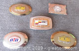 5 RailRoad Belt Buckles / Seaboard System Railroad / Clinchfield Railroad The other 3 I do not Know:0(