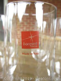 Set of 6 Bormioli Rocco Clear Champagne Flutes 6ozs 9 inches tall made in Italy