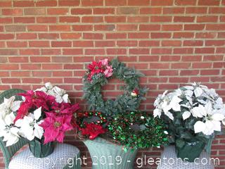 Christmas Wreaths and Flowers Lot   /  TABLE AND CHAIRS NOT IN AUCTION