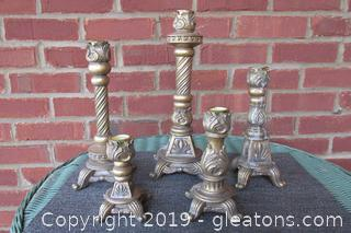 5 Coordinating Gold Gilt looking with Silver tones Tapered Candle Stick Holders Resin?? Some of the Candle Stick have melted wax on them