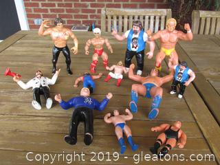 WWF &WWE Wrestling Action Figures 11 Titan Sports & 1 Remco Action Figure = Total is 12 Figures