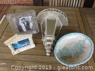 Large Mirrored Wall Sconce Shelf / 2 Frames / Pottery Serving Bowl