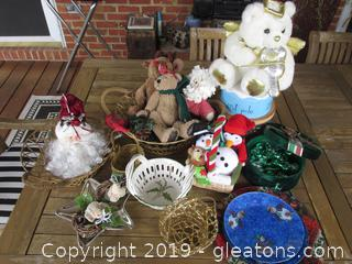 Christmas Baskets, Stuffed Things, Empty Boxes, Misc. Plates etc