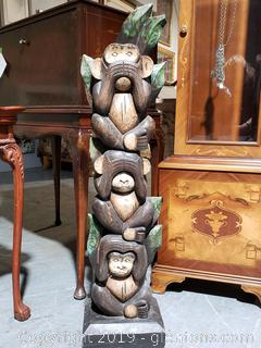 Hand-Carved Wooden Monkey Statue