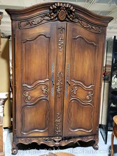 Hand-Carved French Armoire